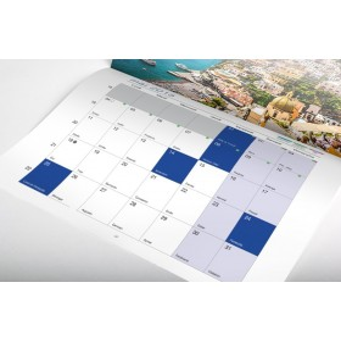 Calendario Pared, grapado y perforado 12 pág. + cubierta